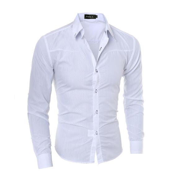 8ce41854d358300 Стильная мужская приталенная рубашка в британксом стиле длинный рукав M-  5XL белая код 1 -