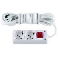 Удлинитель с/з на 2 гнезда с выкл. без провода