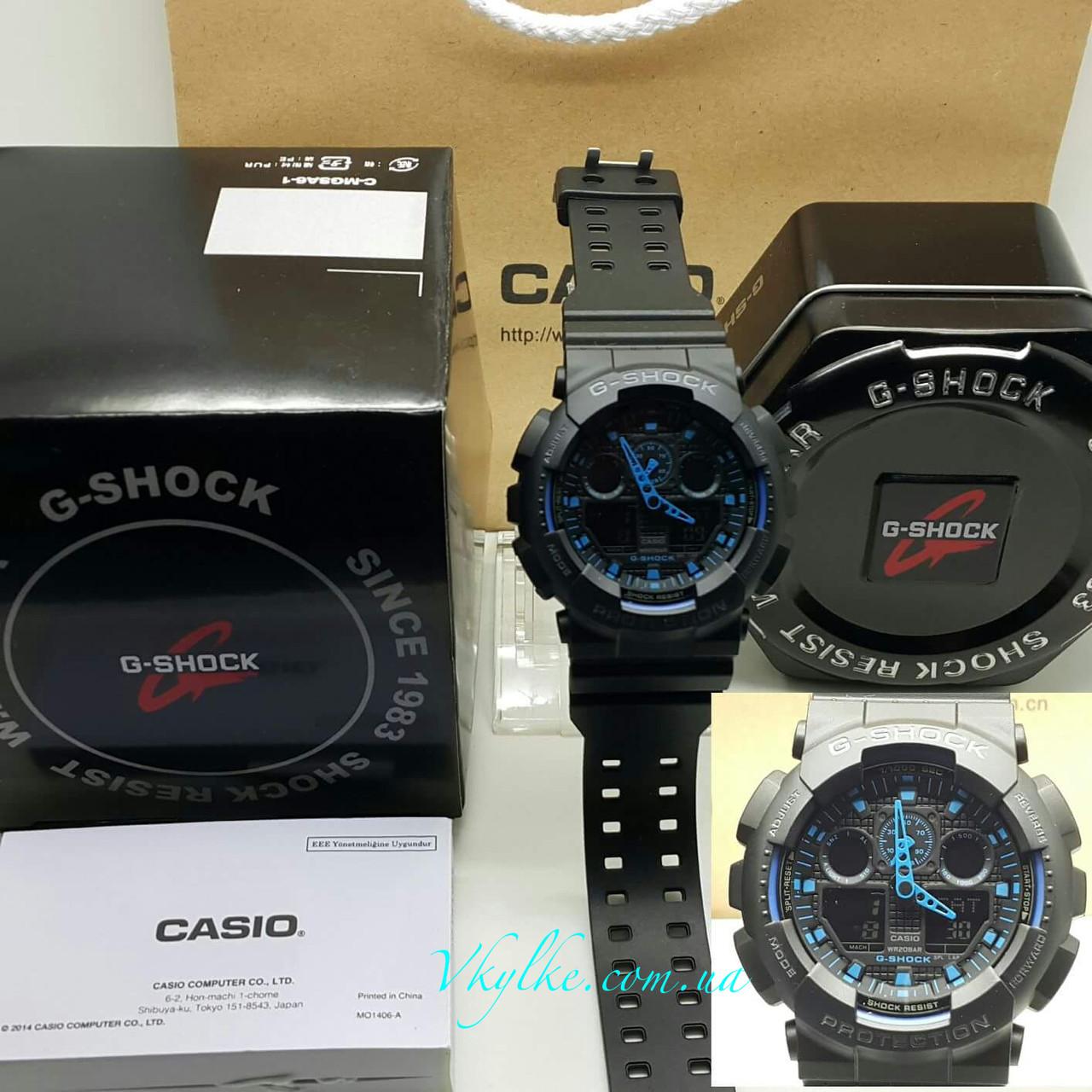 Годинник Casio G-Shock GA-100 BLACK-BLUE AAA
