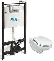 Комплект: VICTORIA унитаз подвесной, Active инсталяция для унитаза, Active кнопка, сиденье твердое slow-closing,пласт