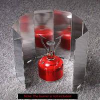 Складной Ветрозащитный алюминиевого сплава 8 в 1 пластины для Открытый Кемпинг газовая плита / горелка Варя Серебристый