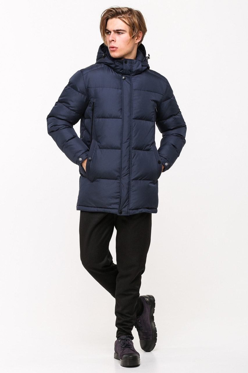 Мужская стильная зимняя батальная куртка SOOYT SOT17-M1168B темно-синяя (#401) больших размеров