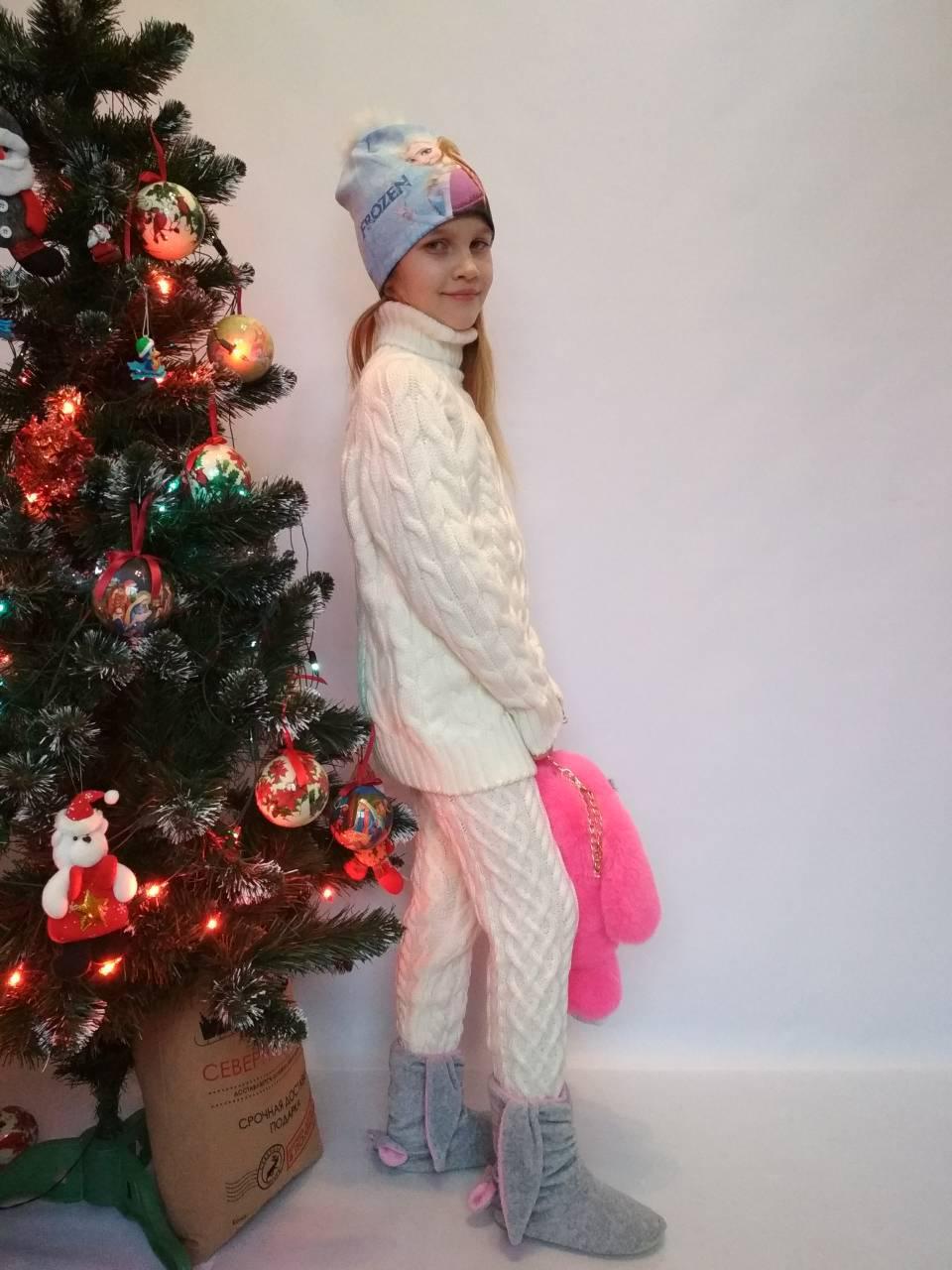 теплый вязаный костюм на девочку белого цвета за 450 грн в харькове