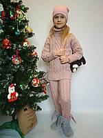 Шерстяной вязаный костюм для девочки р. 122-158, фото 1