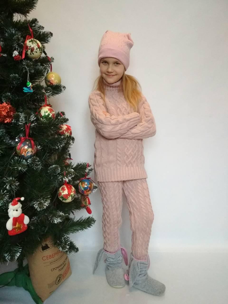 шерстяной вязаный костюм для девочки р 122 158 за 450 грн в