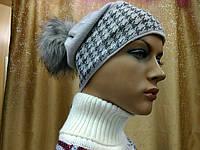 Irena Kamea(Камея)молодежная женская шапка с бубоном, шерстяная, цвет cерый, фото 1