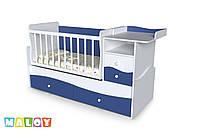 """Детская кровать-трансформер """"Волна"""", (белый - голубой)"""