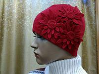 Zlata ТМ Камея, женская шапка с украшением, полушерстяная, красный цвет