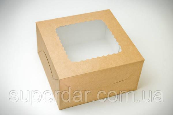 Коробка для зефира, печенья и десертов, 170х170х90мм, Крафт