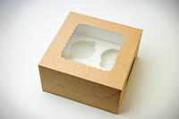 Коробка для 4 кексов, капкейков, маффинов с окном.,170х170х90 мм, крафт, фото 1