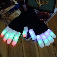 Красочные светодиодные перчатки 6 режимов освещение для велосипеда Хэллоуин Белый и чёрный