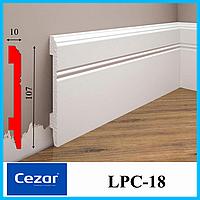 Белый плинтус для покраски из дюрополимера высотой 107 мм, LPC-18 Cezar, 2,0 м.