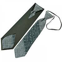 Детский вышитый галстук серого цвета №595