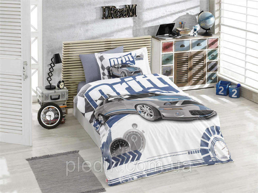 3324add3326f Комплект постельного белья 160х220 HOBBY 3D Poplin Drift голубой 30838_1,5  - pledik.com