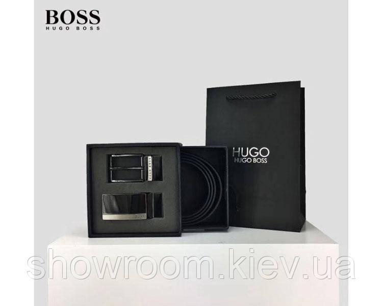 Мужской кожаный брючной ремень в стиле Boss (206) подарочный набор