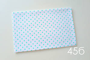 Ткань бязь Горох мятный 7мм (№45б)