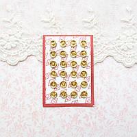 Мини кнопки для кукольной одежды и сумок 6 мм, золото - 4 шт