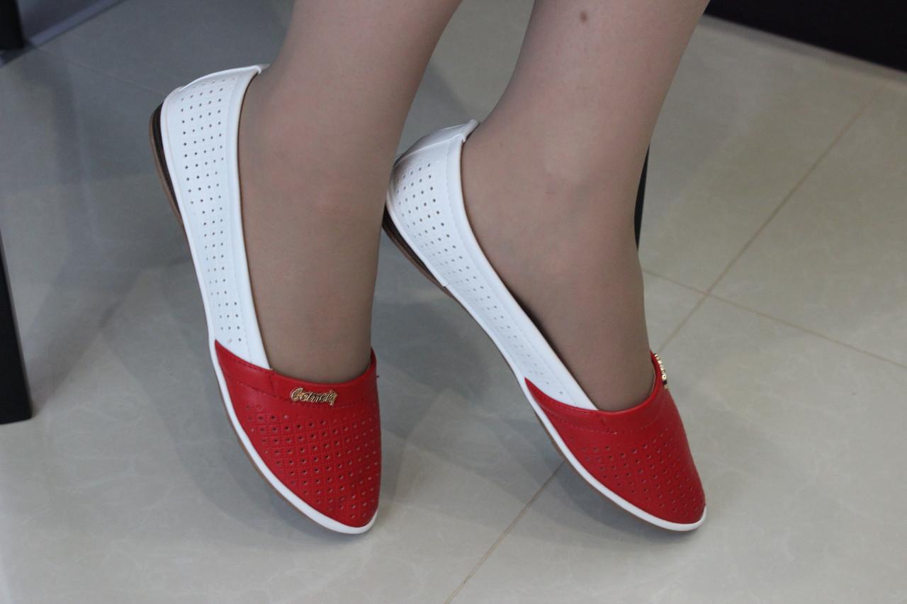 Женские балетки перфорация бело-красные размер 38