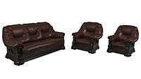 """Комплект кожаной мебели """"Гризли"""": диван+2 кресла"""
