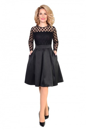 Модное женское платье с сеткой в горох