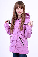 Куртка детская для девочки демисезонная сиреневая на рост 116 - 152 см, NK-06