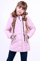 Куртка детская для девочки демисезонная розовая на рост 116 - 152 см, NK-07