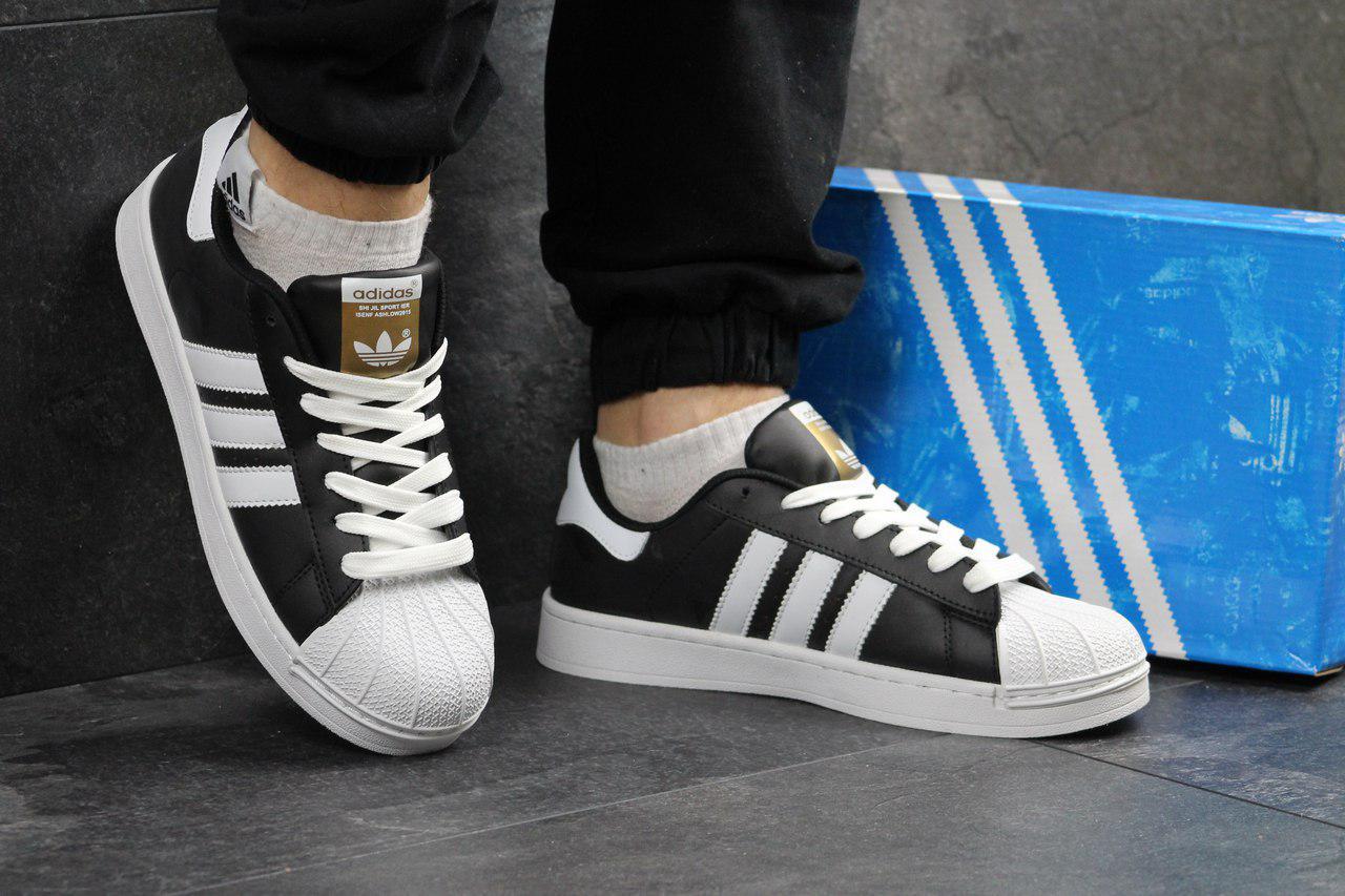 Мужские кроссовки Adidas Superstar (черные), ТОП-реплика