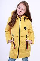 Куртка детская для девочки демисезонная желтая на рост 116 - 152 см, NK-10