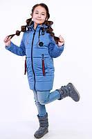 Куртка детская для девочки демисезонная голубая на рост 116 - 152 см, NK-13
