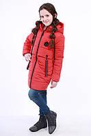 Куртка детская для девочки демисезонная красная на рост 116 - 152 см, NK-14