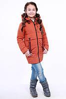 Куртка детская для девочки демисезонная оранжевая на рост 116 - 152 см, NK-09