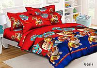 Полуторный комплект постельного белья 150х220 из ранфорса Щенячий патруль Red (70х70)