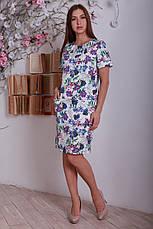 Стильное повседневное офисное платье с цветочным принтом, большой размер, фото 2