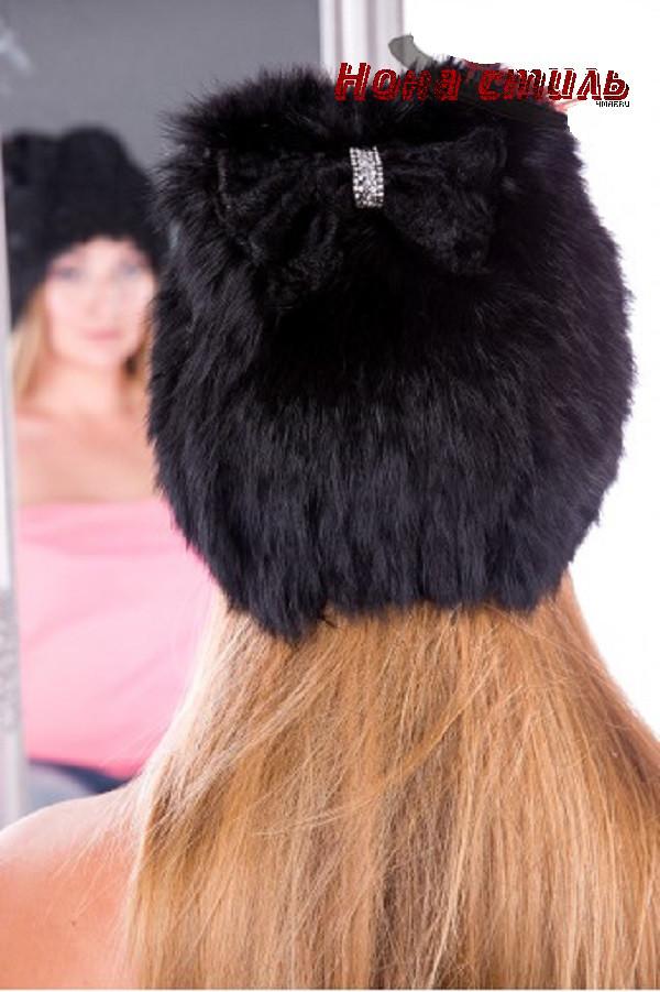 Шапка зимняя женская из кролика 17KV 002 черная