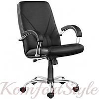 Manager steel chrome comfort (Менеджер) кожаное кресло руководителя на базе комфорт цвета в ассортименте