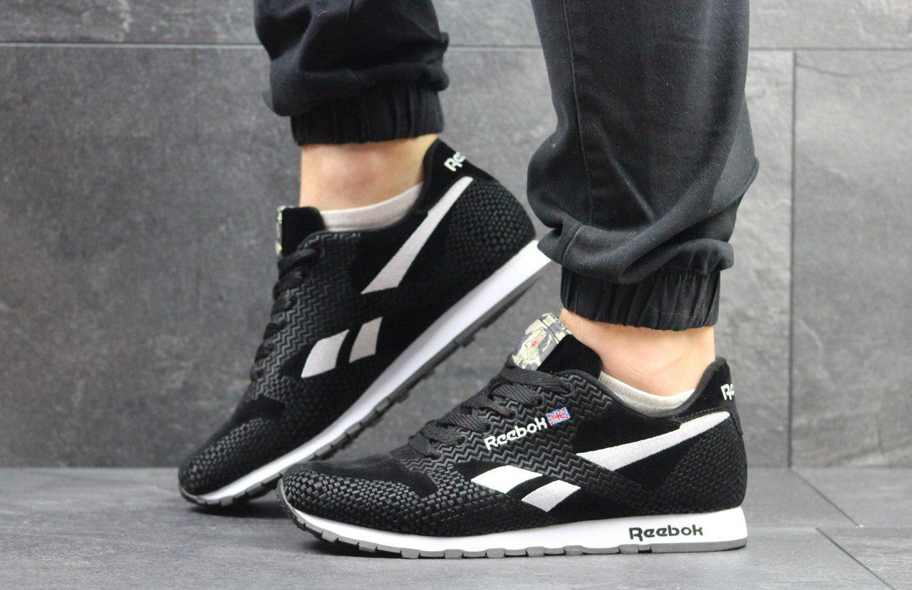 Мужские кроссовки Reebok (черные с белым), ТОП-реплика