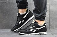 Мужские кроссовки Reebok (черные с белым), ТОП-реплика, фото 1
