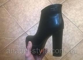 Ботильйони жіночі еко шкіра, високий каблук і тракторна підошва колір чорний Код 1280, фото 3