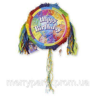 46х46х6 см Пиньята Happy Birthday с лентами складная
