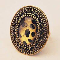 Винтажный Леопардовый Узор Эллипс Кольцо Один размер