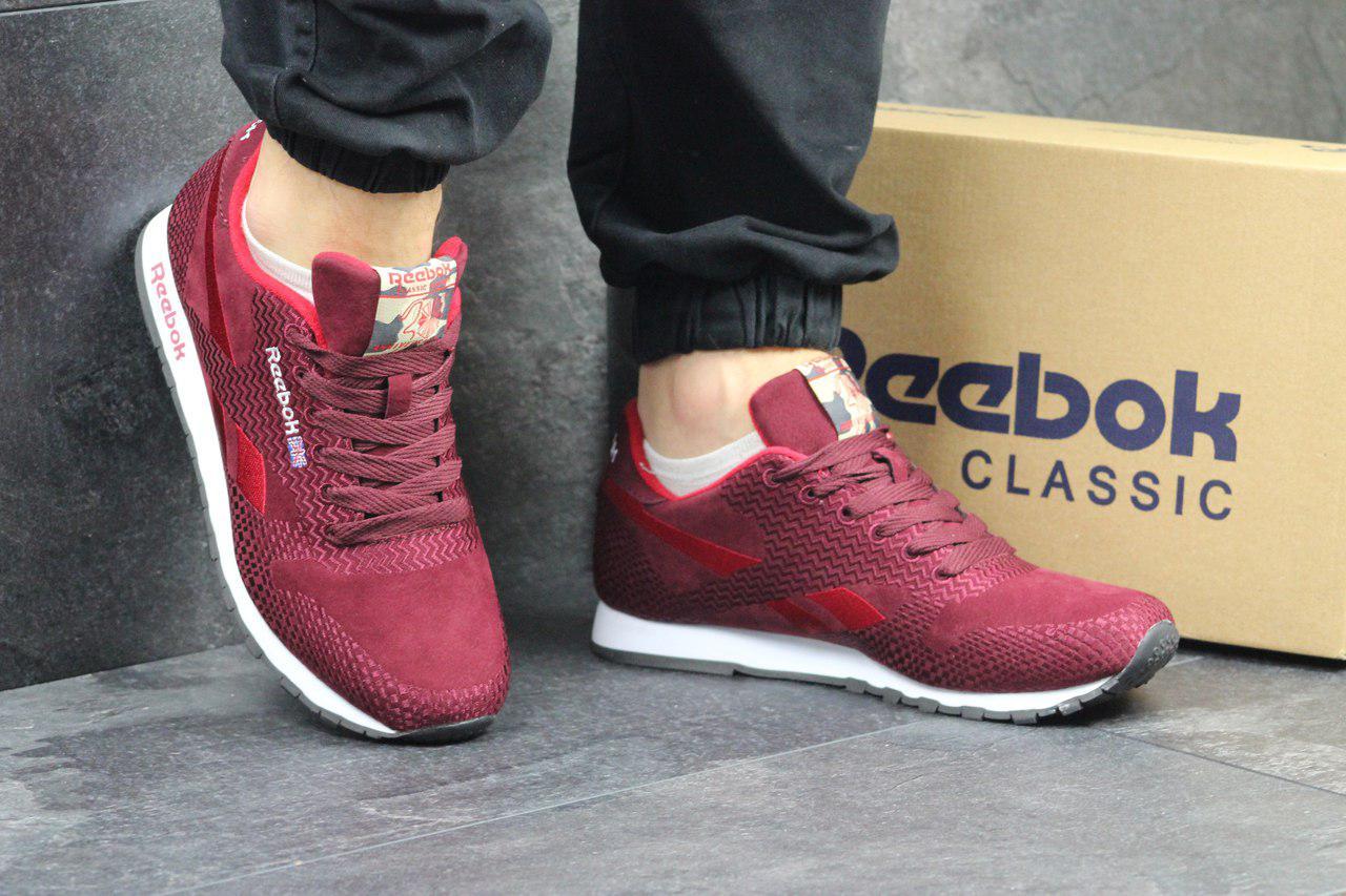 Мужские кроссовки Reebok (бордовые), ТОП-реплика