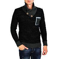 Мужской вязаный теплый свитер GERACE черного и серого цвета, фото 1