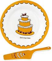 """Набор для торта """"Пирожное"""", блюдо Ø27см и лопатка 27см (керамика)"""
