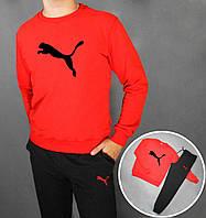 Мужской спортивный костюм Puma красный с черным
