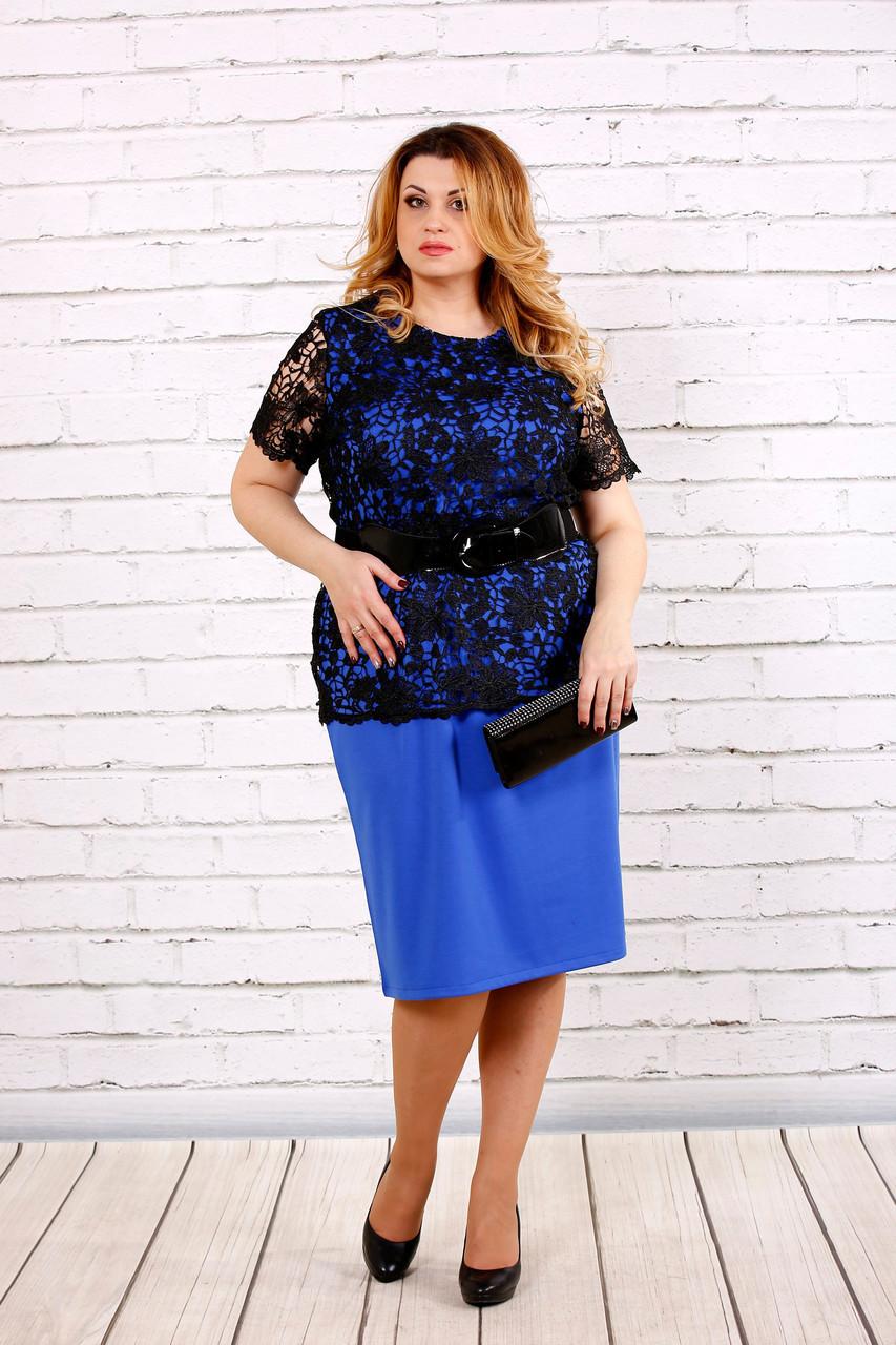 ac4bb902653eb52 Синее платье с гипюром для полных женщин 0697 - V Mode, прямой поставщик  женской одежды
