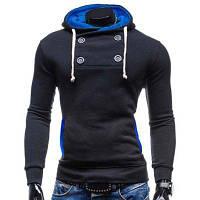 Модный узкий балахон с капюшоном / длинными рукавами / цветного сращивания / дизайном кнопки из полиэстера для мужчин 2XL