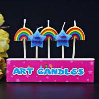 Креативные свечи в форме радуги звезды на День рождения детской вечеринки 5шт No.2/0