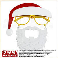 Очки Санта Клаус с усами и колпаком