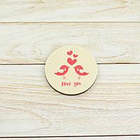 """Шоколадная открытка """"Love you""""М-2 Размер:Ǿ80мм,h=9мм,вес 50гр классическое сырье"""