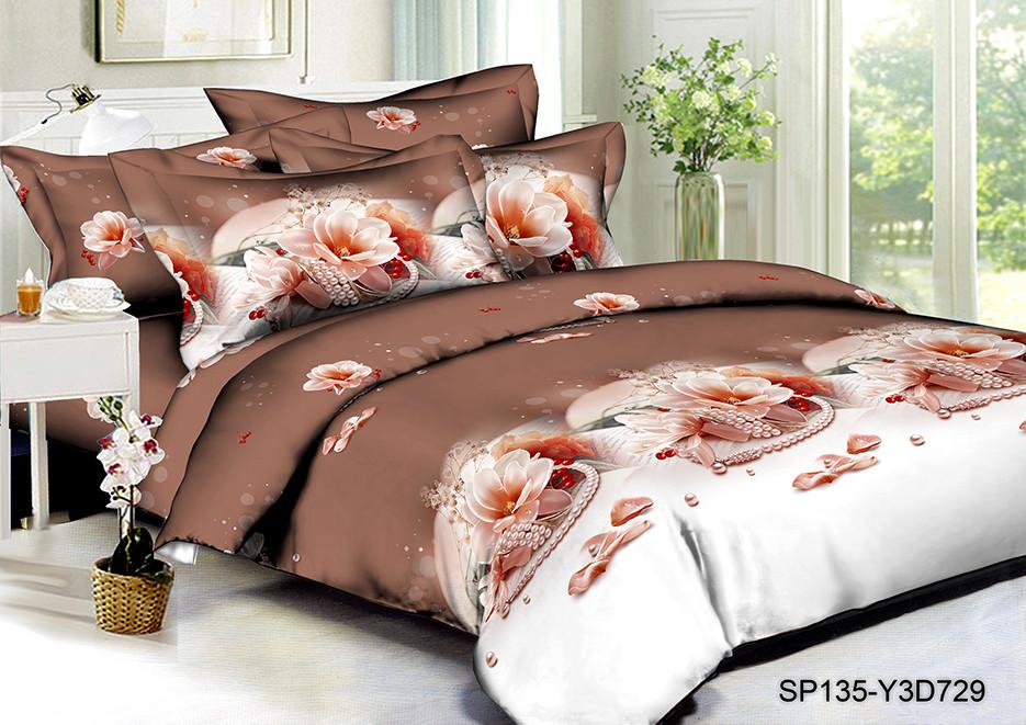 Полуторный комплект постельного белья 150х220 из полисатина Перлина